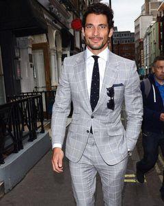Grey lattice Mens Wedding Tuxedos Notch Lapel Groom Groomsmen WeddingTuxedos Popular Man Blazers Jacket 2 Piece Suit(Jacket+Pants+Tie) 1316