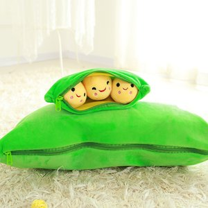 Children Kids Cute Pods Pea Shape Stuffed Plant Doll 3 Beans With Cloth Case Creative Soft Hold Pillow Travel Pregnant Home Toy