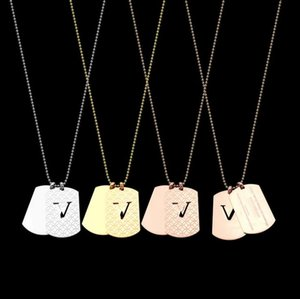 Double tag men's necklaces foreign trade lovers medium length necklaces