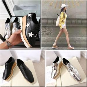 2019 Hot Sale! Stella McCartney sapatos de alta qualidade couro genuíno Moda feminina Platform Wedge Plataforma Oxfords impulsionar Sneakers 0803188