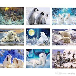 Yapıştırılan Fotoğraflar Yuvarlak Northern Lights Bebek Polar Bear Matkap Boyama 5d Tam Elmas Nakış Hayvan Tavşan Diy Elmas Mozaik