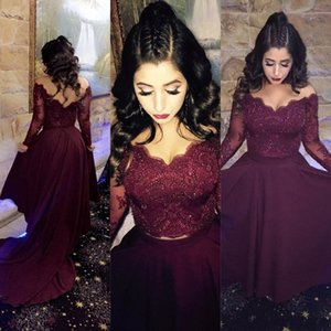 2020 Hot Two Pieces Burgundy Prom Dresses Off Hombro Mangas largas Apliques de encaje con cuentas Sexy espalda abierta Vestido de fiesta formal Vestidos de noche