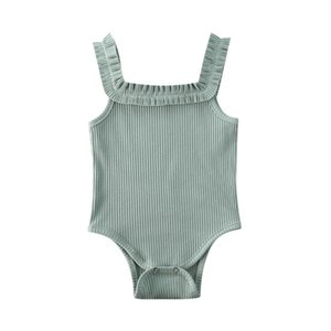 2020 Baby Girls Boys Bodysuits Summer Clothing Newbown Sleeveless Ribbed Ruffled Solid Jumpsuits Solid Playsuits 3M-24M