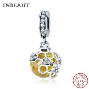 INBEEAUT Famoso Designer 925 Sterling Silver Carino CZ Honey Bee Yellow Glass Net Ciondolo perline fit Pandora Bracelet Charm Jewelry