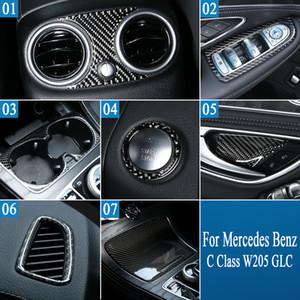 메르세데스 벤츠 C 클래스 W205 GLC 자동차 인테리어 액세서리에 대한 실제 탄소 섬유 리어 에어 컨디셔닝 배기 패널 프레임 커버 스티커