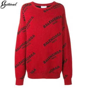 2017 Otoño Invierno Suéteres y jerseys Mangas largas Gruesas y cálidas letras de punto suéter Casual Oversize Tops prendas de punto negroMX190820