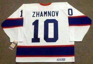 Uomo Donna della Gioventù 2018 personalizzato portiere Cut ALEX ZHAMNOV Winnipeg Jets 1993 CCM Vintage casa Hockey Jersey Tutti cucito qualsiasi nome qualsiasi numero