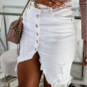 Summer Denim Skirts For Women Sexy Bodycon Slim Shorts Skirts Ladies Hem Split Jupe Falda Solid Colour Button Ladies D30