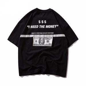 성모 마리아 남성 T 셔츠 힙합 달러 반사 스트립 마리아는 T 셔츠 하라주쿠 스트리트 캐주얼 반팔상의 인쇄