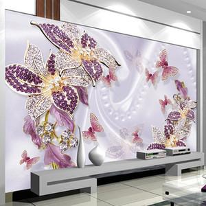 Custom Photo Wallpaper European Style 3D Wallpaper Purple Jewelry Flower Murals Living Room Bedroom Background Wall Decor