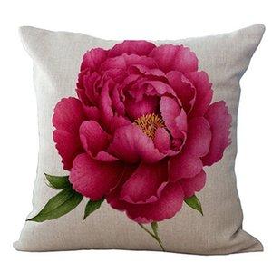 Vintage Floral / Fiore di lino rosa Gettare decorativo della cassa del cuscino Cover Casa sofà decorativo