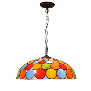 티파니 펜던트 다채로운 원형 LED 스테인드 글라스 펜던트 램프 서스펜션 조명기구 컬러 유리 거실 끊기 램프 50cm를 점등