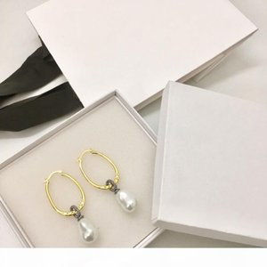 Luxury Vintage Classic Designer Round Hollow Gold Circle With White Pearl Charm Dangle Drop Earrings For Women Jewelry