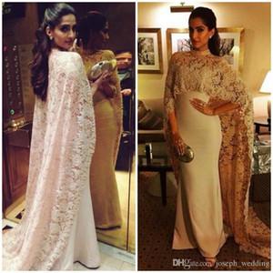 2020 Şık Dantel Arapça Denizkızı Abiye Uzun Yüksek Yaka Dantel Cape Balo Abiye elbiseler de mariée Parti Dresse Kaftan
