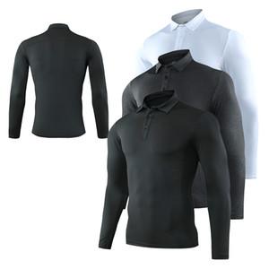 Mens Long Sleeve Polo Moda Outono respirável Correndo aptidão Quick Dry Clothes New Man Casual Fino lapela Tops