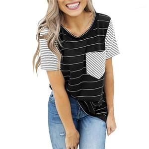 Top Fashion Designer girocollo maglietta casuale di estate delle donne brevi vestiti manicotto femminile a righe stampato