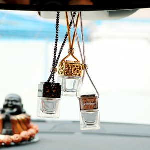 Cube Hollow Car Perfume Bottle Rearview Ornament Hanging Air Freshener For Essential Oils Diffuser Fragrance Empty Glass Bottle Pendant