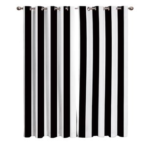 Simple Black And White Stripes Curtains Outdoor Decor Swag Kids Curtain Panels With Grommets Window Treatment Valances