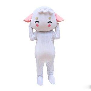 Скидка завод горячего NEWWhite Sheep костюм талисмана шаржа Real Photo