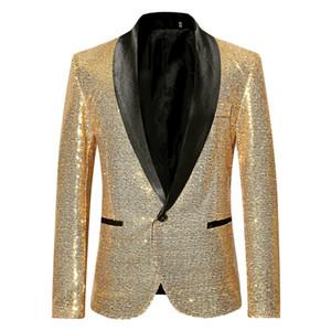 PYJTRL Erkekler Blazer Moda Parlak Altın Pullu Blazers Şarkıcılar Sahne Giyim Kostüm