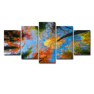 Paisagem Canvas Wall Art Decor Pictures Floresta Outono Pintura Artwork for Living Room Home Decor Unframed 5 peça