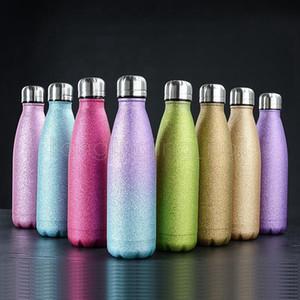 500мл Cola Форма бутылки для воды из нержавеющей стали с вакуумной изоляцией бутылки воды Блеск массажер Cola Бутылки Спорт Термосы Bottle HHA1021