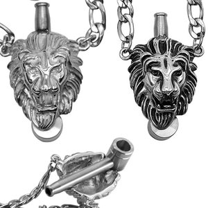 hediye kutusu baba günü hediye ile kuru ot sigara için 3 boyutlu tasarım kafatası aslan metal pipo