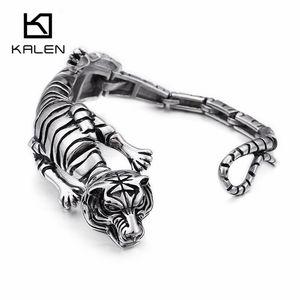 Hip Hop Тигр Leopard Lizard Scorpion браслет для мужчин высокого качества из нержавеющей стали Rock животных Шарм браслет ювелирные изделия