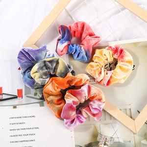 Velvet capelli Scrunchies Tie-dye elastico Hairbands Scrunchy legami dei capelli delle corde della ragazza del supporto del Ponytail dei capelli Pleuche Headwear GGA2870