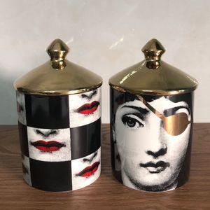 Viso Fornasetti candela Holder Jar Retro Lina Jewelry Viso Storage Box Bin ceramica scrittorio della casa Decoration SH190924