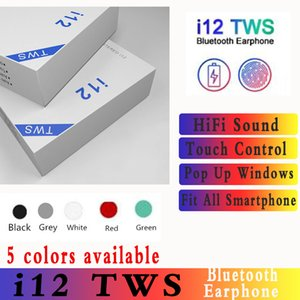 i12 tws bluetooth 5.0 wireless bluetooth headphones support pop up window Earphones colorful touch control wireless headset earbuds goodsale