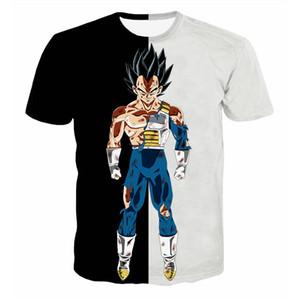 Dragon Ball Z T-shirt dos homens de verão 3D Impressão Super Saiyan Goku Preto Vegeta Batalha Dragonball Casual Camiseta Tops