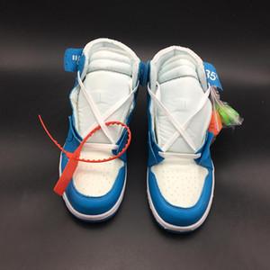Powder Kapalı Mavi Beyaz AQ0818-148 Hava 1 Yüksek OG UNC 1s Kadınlar Erkekler Basketbol Spor Ayakkabı Sneakers Kalite ile Orjinal Kutusu x