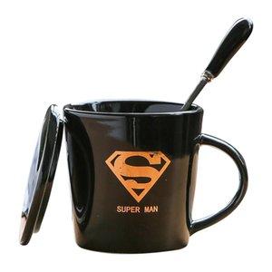 뚜껑 숟가락 시리즈 잔 홈 오피스 커플 물 컵 사용자 정의 크리 에이 티브 세라믹 커피 잔 우유 컵