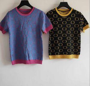 Hot Sale New Arrival Brand Women Knit Tees Fashion Designer Womens Summer Casual T Shirt Women T Shirts Clothing Size S-L YF202212