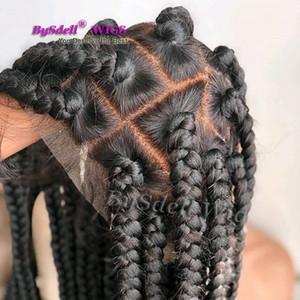Perruque Synthetic Braid Cheveux Synthetic Braid Cheveux Fat Dentelle Perruques de dentelle Pour Femmes Noir Cheveux tressés Perruque pleine dentelle