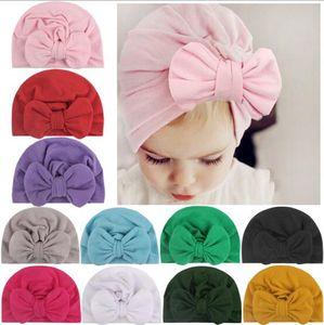 11 Renkler Çocuklar Bow Hat Katı Renk Beanie Crochet kız Sevimli Şapka Yeni doğmuş Şapka Cap Bebek, Çocuk Hamile