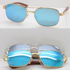 Büyük Kare Sıcak Santos Bej Bubinga Ahşap Sunglasses erkek güneş Yeni Mavi Ayna Lens sürüş klasik modeli Ahşap gözlükleri gözlük