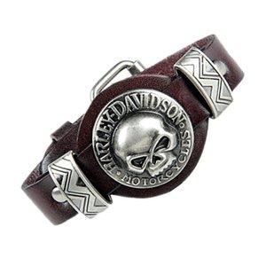 Fashion Genuine Leather Punk Skull Man Bracelets & Bangles Watchband Design Rock Skeleton Bracelet For Women Men Jewelry Accessories