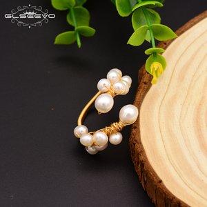 GLSEEVO الطبيعية للمياه العذبة الباروك اللؤلؤ الأبيض خواتم قابل للتعديل للنساء اليدوية خاتم الزواج مجوهرات Anelli دونا GR0190