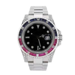 Top maître horloger pour rendre les hommes 40mm montre en acier inoxydable incrustée de diamant automatique montre mécanique de luxe lumineux imperméable à l'eau