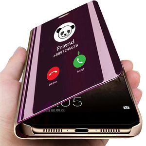 Luxo telefone espelho case para samsung galaxy s10 s9 s8 nota 8 9 couro inteligente vista flip case de proteção para samsung a30 a50 a6 a8