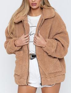 Mulheres de Inverno da pele do falso Solid Color Jacket Fluffy Teddy Bear velo Zipper bolsos do casaco manga comprida Furry Rua Casual