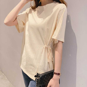 Summer Wear New Style Irregular Drawstring Shirred Pure Cotton Crew Neck Simple Short Sleeve T-shirt t shirt
