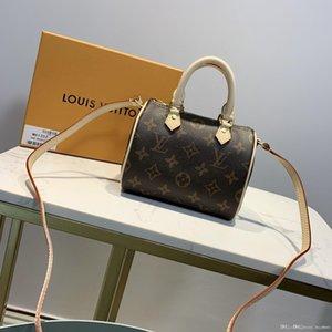 NANO SPEEDY Monogram borsa di tela naturale pelle di vacchetta finiture in pelle con coulisse borse di chiusura dal design di lusso borsa leggera