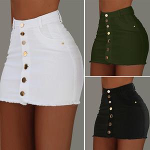 Женская мода Sexy высокой талией Кнопка вниз Ripped Denim Проблемные Bodycon Карандаш Mini Jean Hip юбка с карманами
