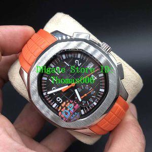 DP usine montre la meilleure qualité cadran noir VK Mouvement Quartz Montres-bracelets 40mm Nautilus 5968A-001 Mens Watch Montres sur bracelet en caoutchouc