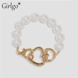 Girlgo Cute Career Bracelets For Women Pearl Gold Color Metal Chain High Quality Bracelet Modern Jewelry 2020 Wedding Party Gift