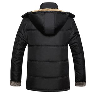Mens quente grossa jaqueta de inverno destacável Hat Colarinho alto Outerwearoat Fluff Forro de Down Coats Parka Casual