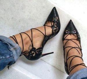 Sıcak Satış-Impera Rihanna Kırmızı Alt Burun Pigalle Ayakkabı Cut Out Bilek Kayışı Kadınlar Lace Up Cut-Outs Kadınlar Sandalet pompaları